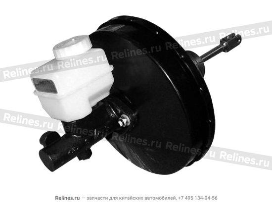 Power brake booster with brake master cylinder